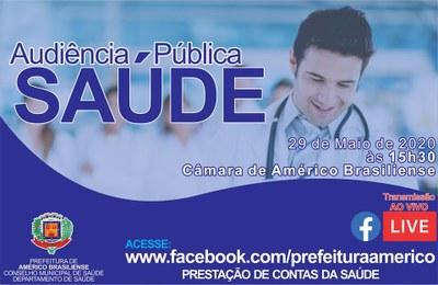 Audiência Pública da Saúde - 29/05/2020 às 15:30 - transmissão on-line